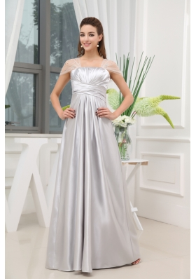 Ruching Beading A-line Grey Long Prom Dress