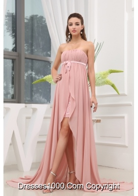 Ruching Hig-low Strapless Sash Brush Train Prom Dress