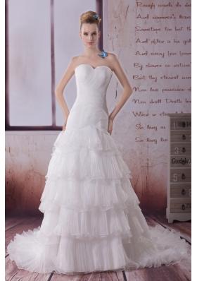 Ruffled Layers Mermaid Sweetheart Court Train Wedding Dress