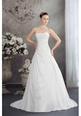 Strapless Beading A-line Brush Train Wedding Dress