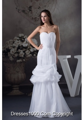 Sweetheart Mermaid Long Pick Ups Wedding Dress