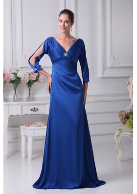 V-neck 3/4 Sleeves Blue Brush Train Mother Of The Bride Dress