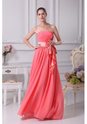Watermelon Sash Strapless Empire Long Prom Dress