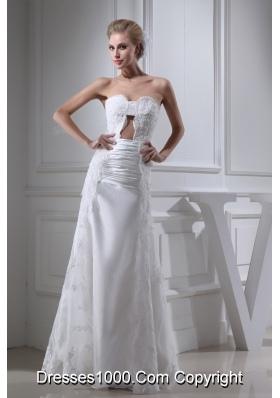 A-line Sweetheart Lace Ruching Long Wedding Dress