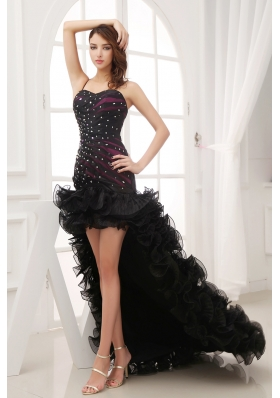 Beading and Ruffles Black High-low Sweetheart Column Prom Dress
