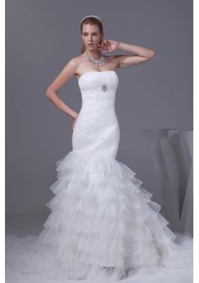 Beading Ruffled Layers Mermaid Strapless Wedding Dress