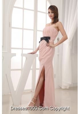 Pink Empire Belt and Ruching Strapless long 2013 Prom Dress