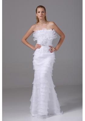 Column Strapless Ruffled Layers Organza Wedding Dress