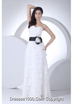 Column Sweetheart Sash Ruffles Layers Wedding Dress