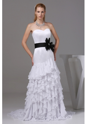 Column Sweetheart Sash Ruffles Wedding Dress
