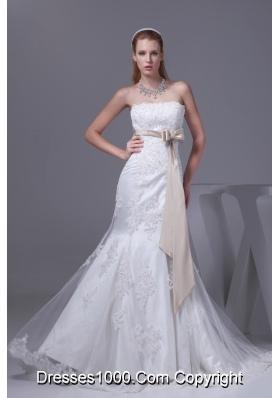 Lace Sash Strapless Mermaid Court Train Wedding Dress