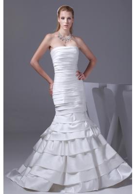 Mermaid Strapless Ruffled Layers Satin Wedding Dress