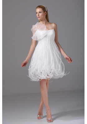 Princess Spaghetti Straps Special Fabric Wedding Dress
