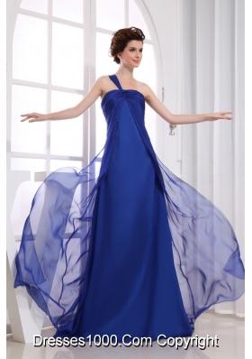 Royal Blue Chiffon One Shoulder Ruching Prom Dress