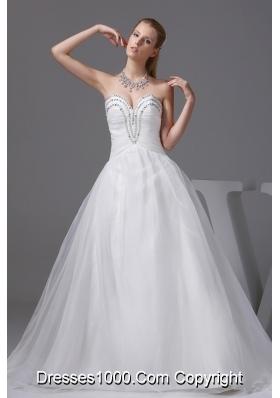 Ruching Beading Sweetheart A-line Wedding Dress