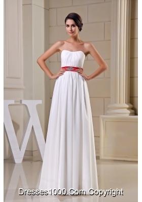 Strapless Beading Belt Chiffon Wedding Dress