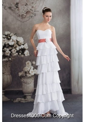 Sweetheart Hand Made Flowers Wedding Dress With Ruffled Layers
