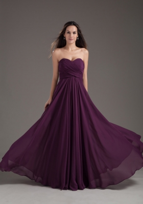 2013 Popular Bridesmaid Dress Sweetheart Empire Dark Purple Ruching Chiffon