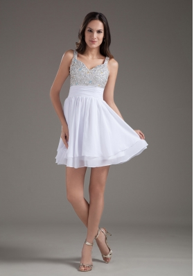 Perfect A-Line Straps 2013 Short White Prom Dress with Beading