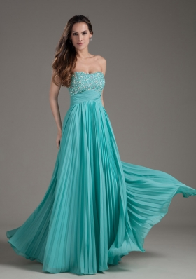 Turquoise Empire Strapless Long Beading Prom Dress - US$136.69