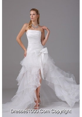 2013 Strapless Ruching and Ruffles High-low Prom Dress with Organza