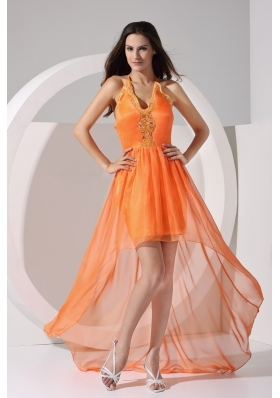 Halter Top V-neck Sheath High Low Prom Dress with Appliques