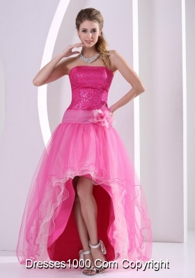 High-low Hot Pink Seqinces Decorate Prom Celebrity Dress