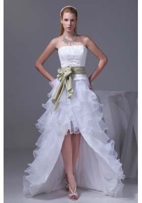 White High-low Embroidery Organza Prom Dress for Women with Sash