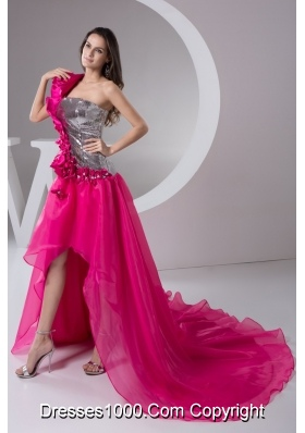 Asymmetrical Court Train Hot Pink Prom Dresses with Flowers