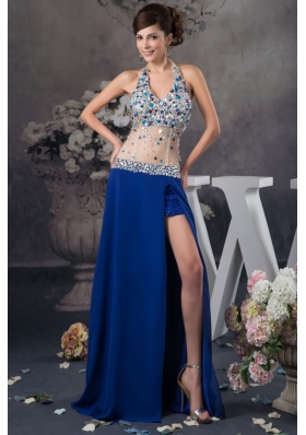 Blue Halter Prom Dresses with Rhinestone and Sheer Waist