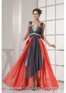 High Low Colorful Wide Straps Prom Dresses with Sequins Lace and Ruffles