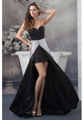 High-Low Sweetheart Sequin Watteau Train Prom Dress