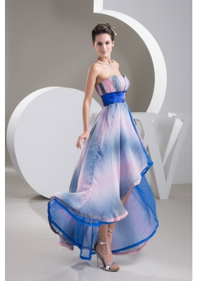 Sweetheart High Low Colorful Pringting Prom Gowns with Beaded Belt