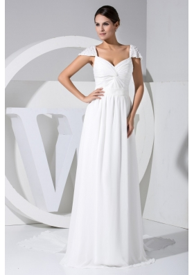 Beaded Cap Sleeves Sweetheart Long Wedding Dresses in White
