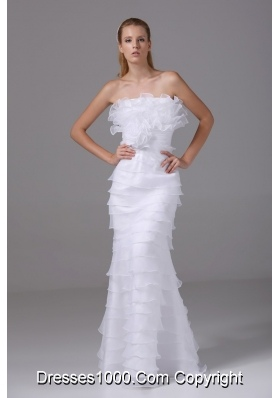 Column Strapless Ruffled Layers and Hand Made Flower Wedding Dresses