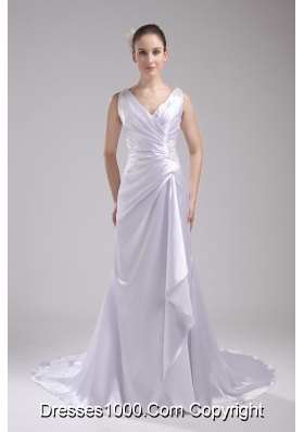 Column V-neck Ruching and Appliques Bridal Dress in 2013