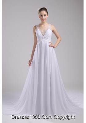 Empire V-neck Ruching and Appliques Chiffon Wedding Dress for Cheap