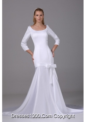 Modest Scoop Long Sleeves 2013 Wedding Gown with Bowknot