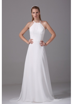 Simple Column Spaghetti Straps Court Train Wedding Dress