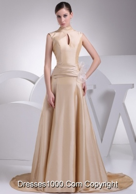 A-line Champagne Beaute Bow Wedding Gowns with Ruching for Cheap