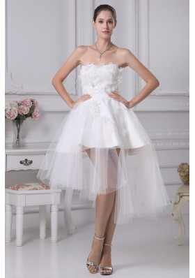 A-line Sweetheart Appliques Short Wedding Gowns with Satin and Tulle 2013
