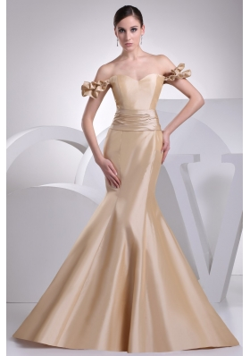 Champagne Off The Shoulder Mermaid Wedding Dress with Ruching in 2013