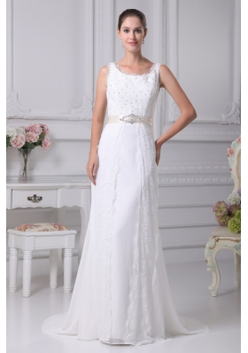 Column Scoop Belt Beading Court Train Chiffon Wedding Gowns