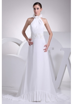 Discount Halter Chiffon Wedding Dress with Appliques and Hand Made Flowers