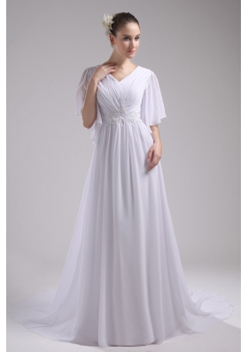 Empire V-neck Short Sleeves Ruching Chiffon Bridal Dresses for Cheap