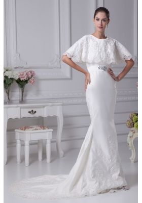 Mermaid Scoop Wedding Dress with Short Sleeves in 2013