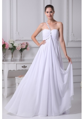 One Shoulder Empire Chiffon Wedding Gowns with Beading 2013