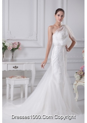 One Shoulder Sash Mermaid Wedding Dress with Tulle in 2013