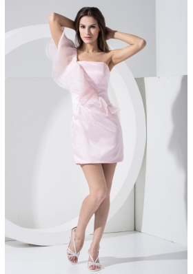 Ruffles Single Shoudler Sheath Mini-length Prom Dress in Pink