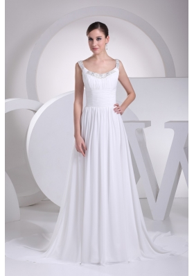 Simple Scoop Beading Bridal Dress with Ruching for Wedding Party